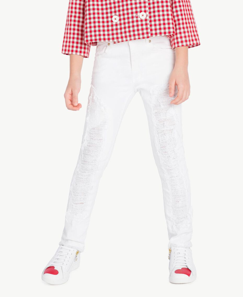 "Skinny trousers ""Papers"" White Child GS82CA-02"