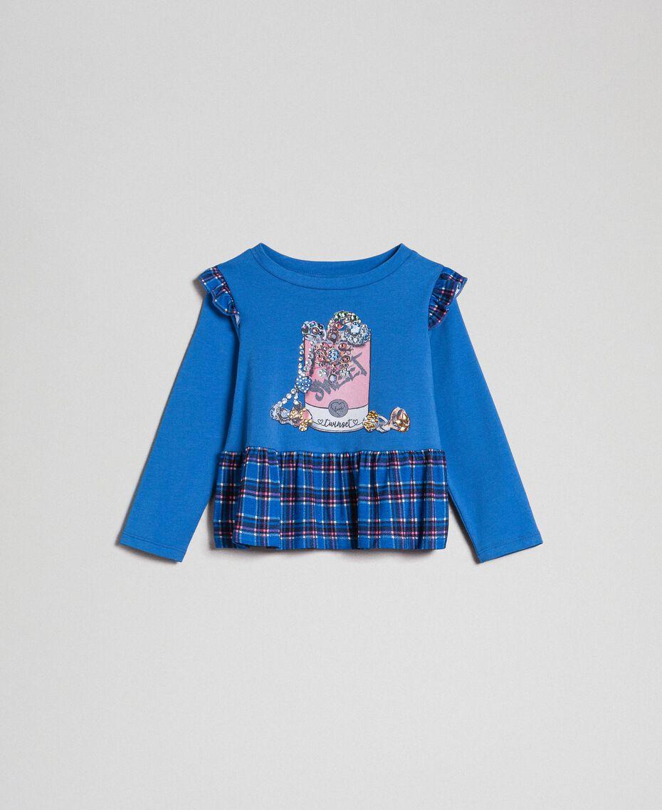 "T-shirt con stampa e balza al fondo Blu ""Mediterraneo"" / Check Blu ""Mediterraneo"" Bambina 192GB2440-01"