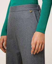 Pantalon de jogging en laine mélangée Rayé Gris Chiné / Argent «Lurex» Femme 202TT2173-05