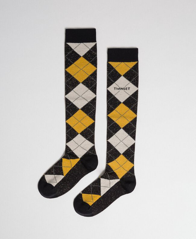 Long socks with lurex diamond shapes Black / Saffron Yellow Jacquard Woman 192TA4321-01