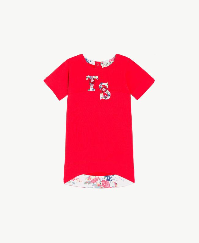Robe logo Bicolore Rouge Grenadier / Fleurs Chantilly Enfant FS82SQ-01