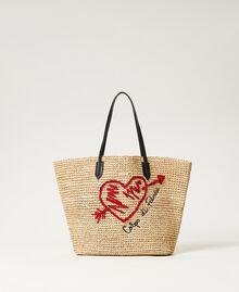 Сумка-шоппер из рафии с вышивкой Солома женщина 211LM7ZUU-01