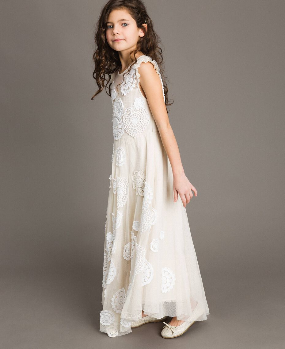 Muslin long dress with embroideries Two-tone Chantilly / Off White Child 191GJ2Q30-0S