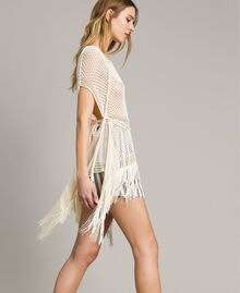 Mesh and lace stitch fringed poncho Ecrù Woman 191TT3061-03