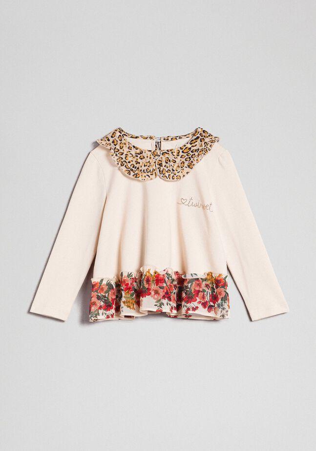 Блуза с воротником с животным принтом и низом с цветочным рисунком