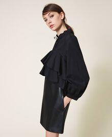 Мини-платье из поплина и искусственной кожи Черный женщина 202ST2052-02