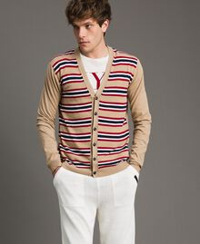 "Crêpe cotton striped cardigan Multicolour Porcelain Beige / ""Dark Raspberry"" Red Man 191UT3032-01"