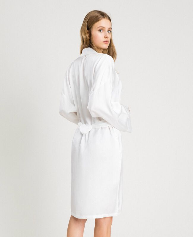 Satin dressing gown Ivory Woman 191LL2DEE-04