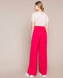 Flowing satin palazzo trousers Wild Rose Woman 201MT2032-03
