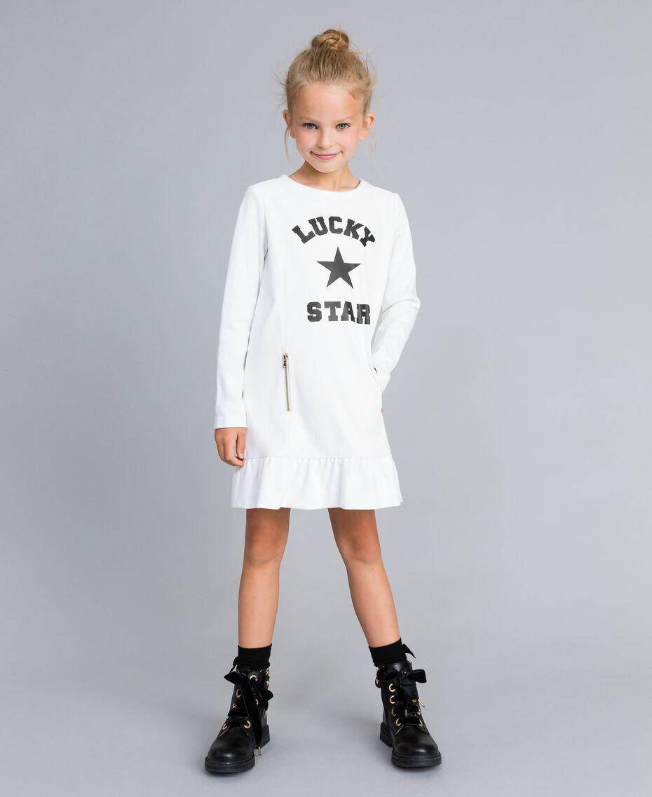 Kleid aus Lederimitat und Interlock-Jersey Mattweiß Kind GA82LU-0S