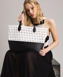Cabas en similicuir avec motif floral Bicolore Blanc Neige/ Noir Femme 191TA7160-0S