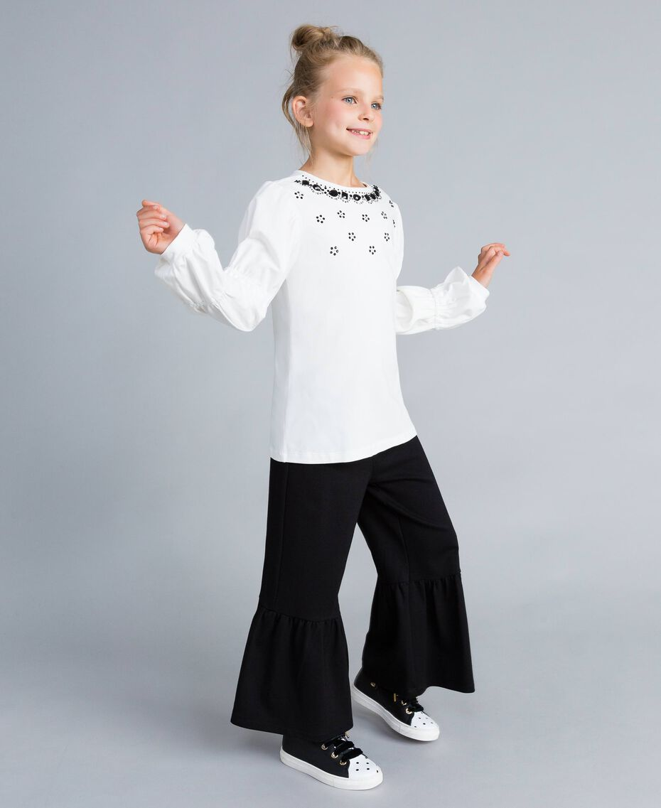 Flared Milan stitch trousers Black Child GA82F2-02