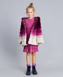Veste réversible en fausse fourrure Imprimé Dégradé Violet Raisin/ Rose Bougainvillier Enfant GA82AR-0T