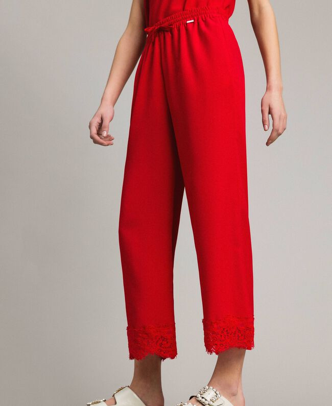 Crêpe de Chine trousers with lace Poppy Red Woman 191ST2067-04