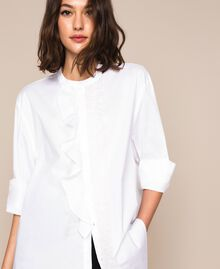Poplin shirt with frills White Woman 201TP2261-04