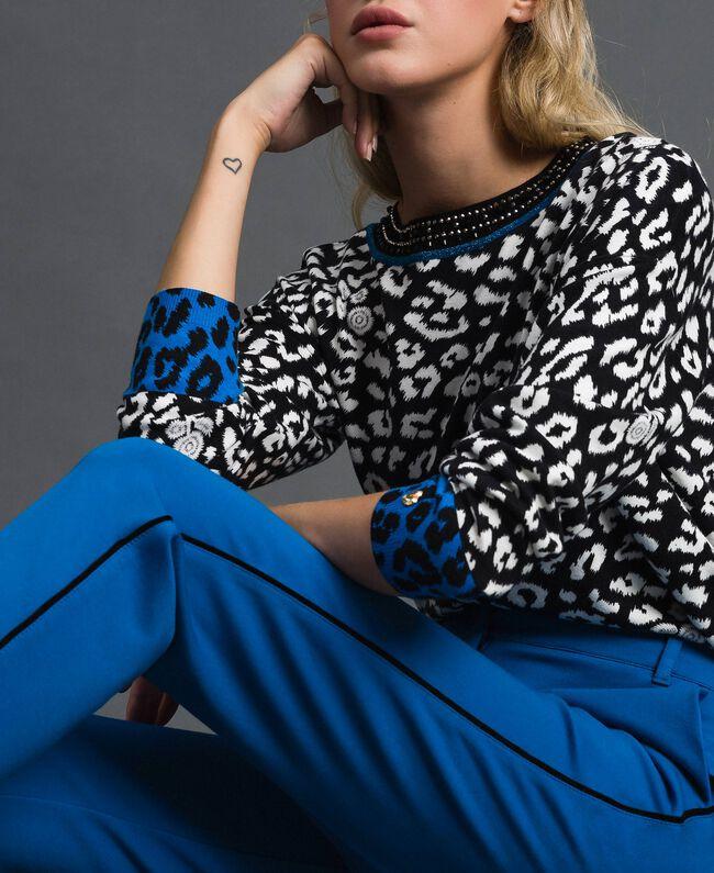 Pantalon cigarette avec bandes en velours Bleu Japonais Femme 192MP2173-04