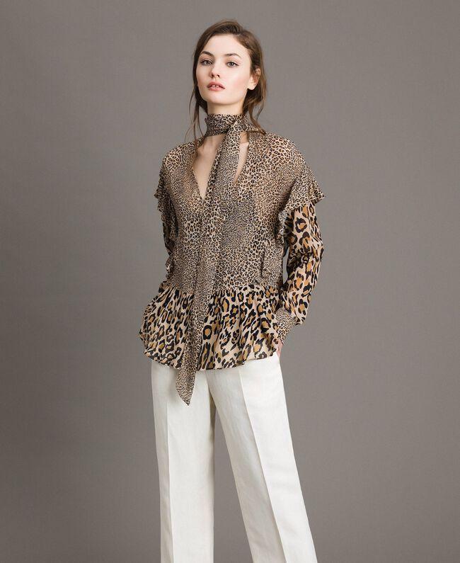 e2d3217ea7c2 Animal print georgette blouse Mixed Animal Print Woman 191TP2721-02