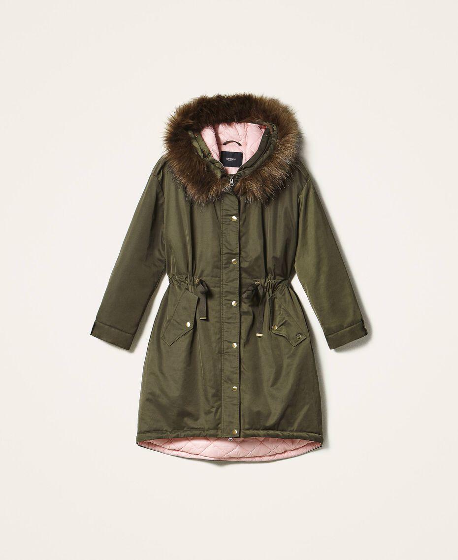 Parka avec capuche et fausse fourrure Vert Olive Foncé Femme 202MP2020-0S