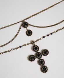 Rosary necklace with mixed chains and stones Beet Red Woman 192TA436H-02