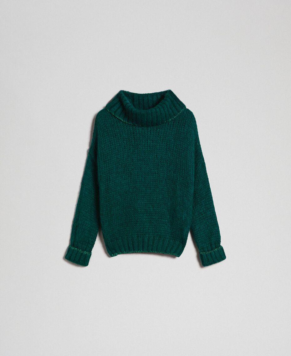 Mohair jumper with lurex stripes Dark Green Woman 192TP3292-0S