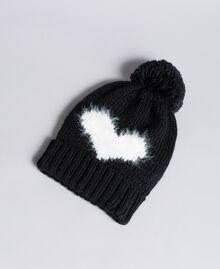 Strickmütze mit Herz Zweifarbig Schneeweiß / Schwarz Frau AA8P5B-01