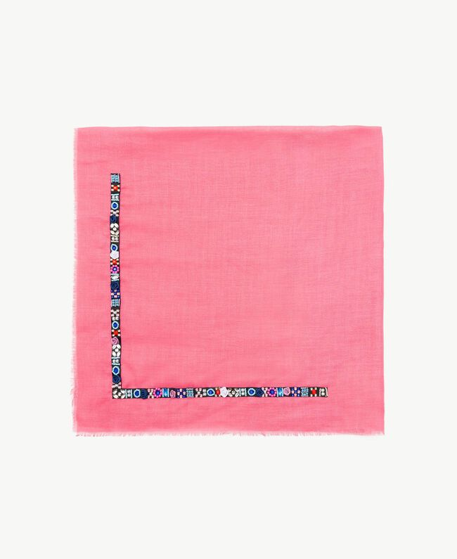 Embroidered keffiyeh Multicolour Embroidery Turquoise Woman AS8P3D-01