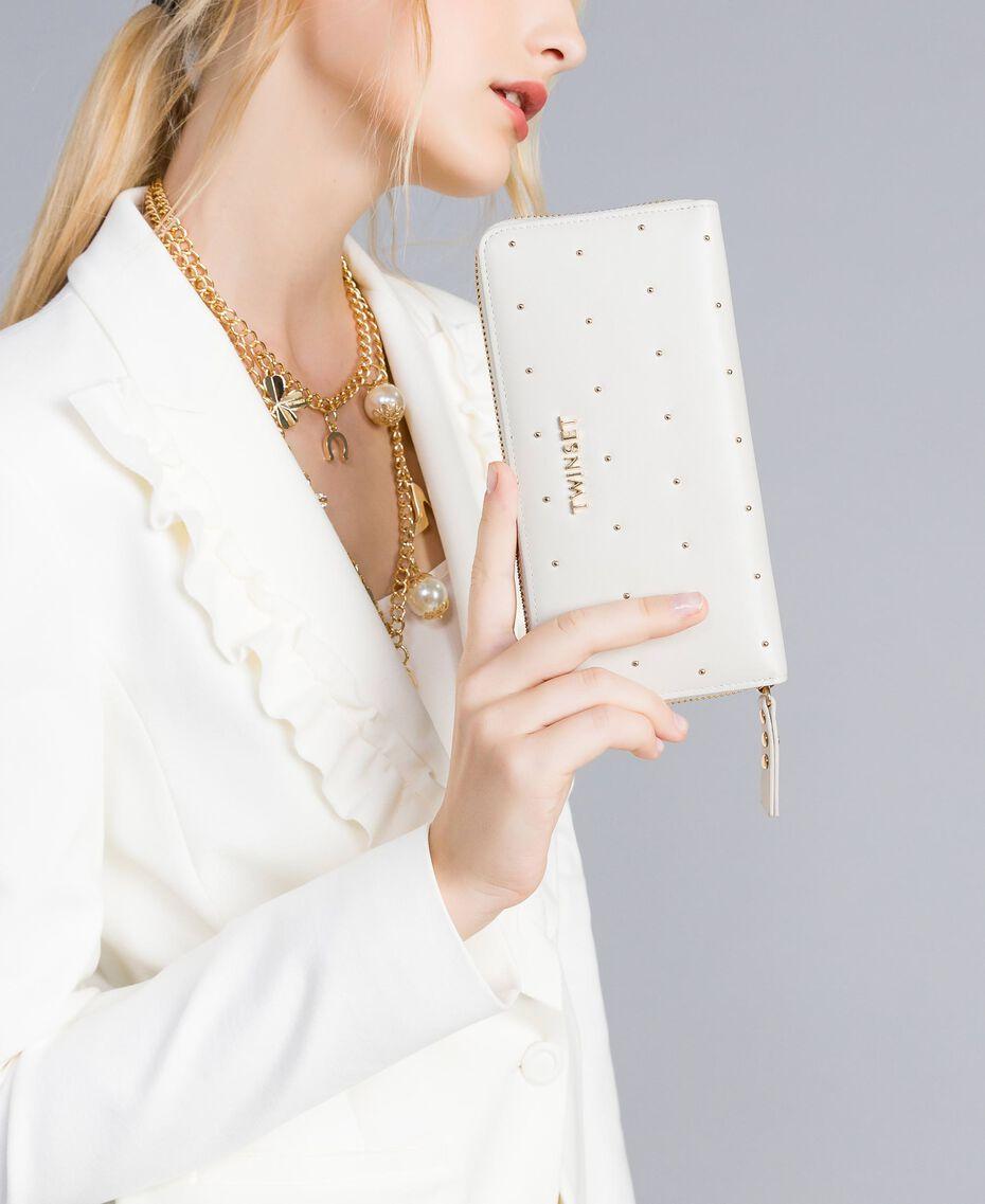 Кожаный кошелек с заклепками Белый Снег женщина AA8PA7-0S