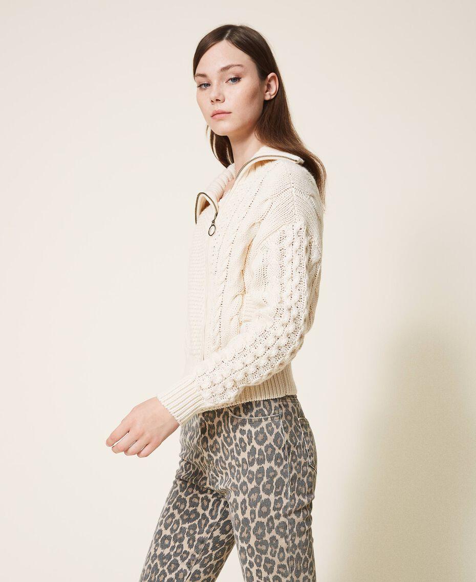 Wool blend biker jacket Parchment White Woman 202TT3191-02