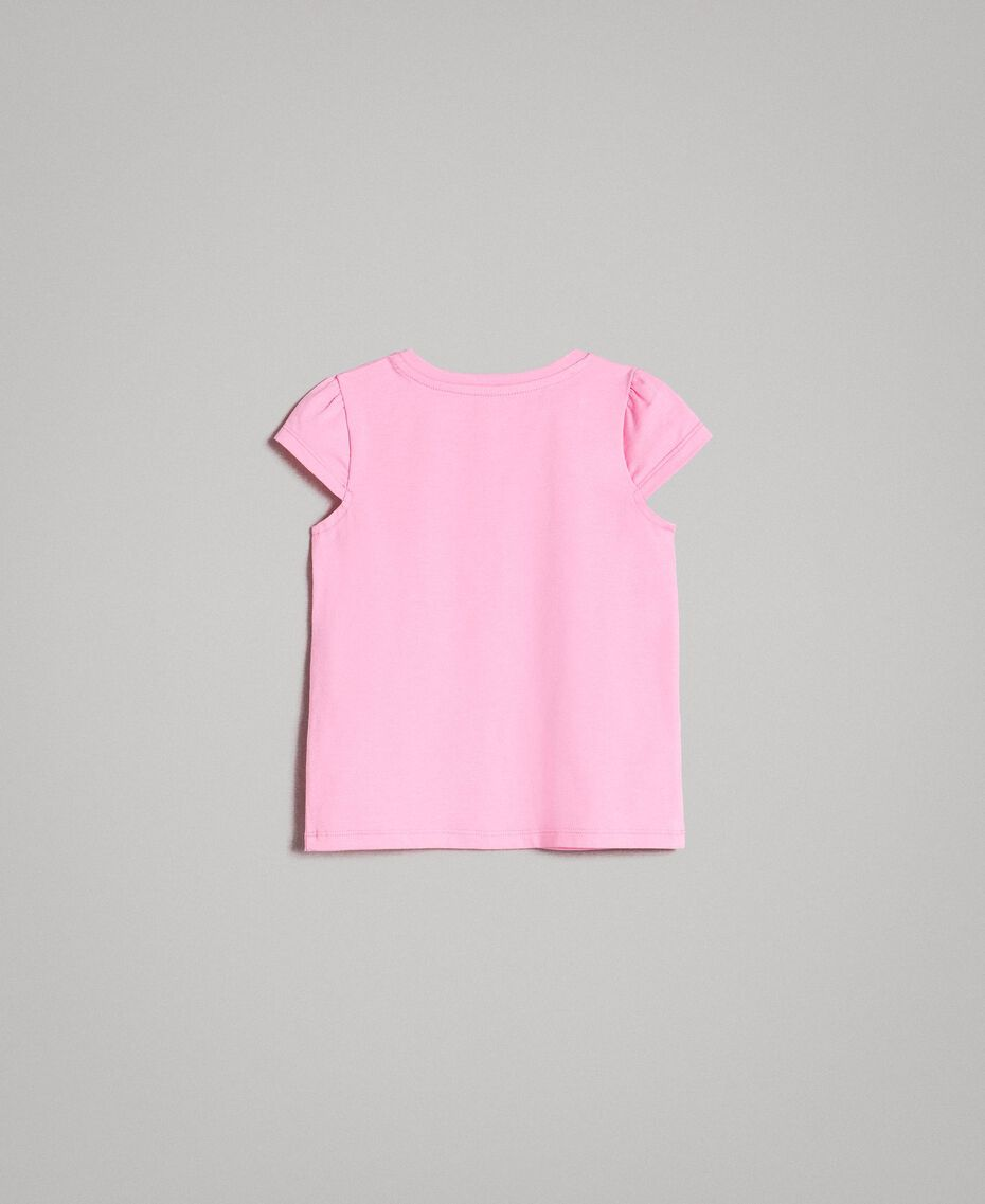 "Stretch cotton T-shirt with rhinestones ""Crystal Pink"" Child 191GB2462-0S"