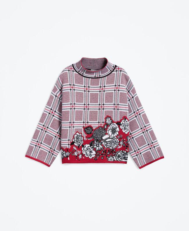 "Maxi floral print and check jacquard jumper ""Reddish"" Red Tartan Print Woman LA8NBB-01"