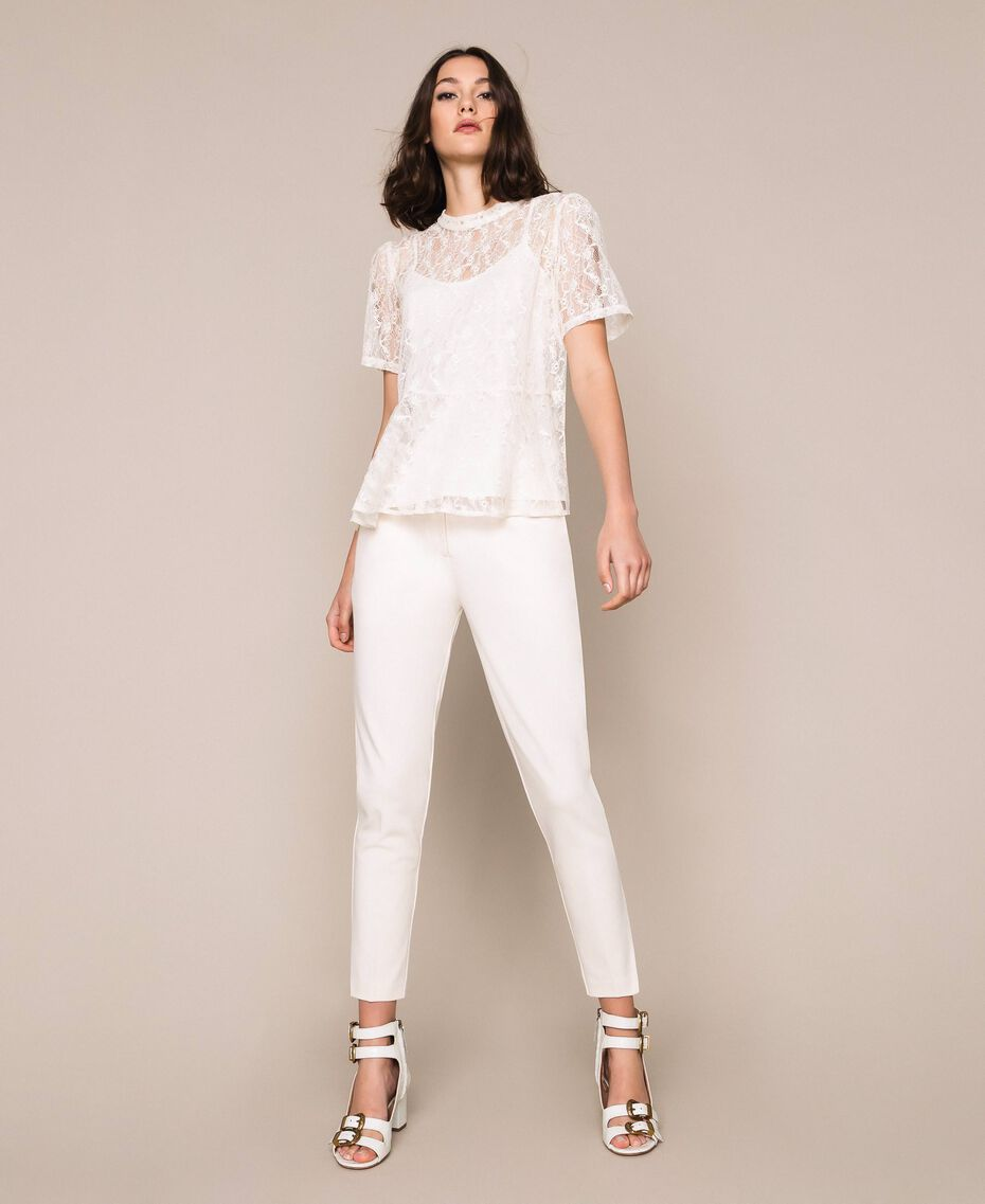 """Cigarette trousers with pockets """"Silk"""" White Woman 201ST2055-01"""