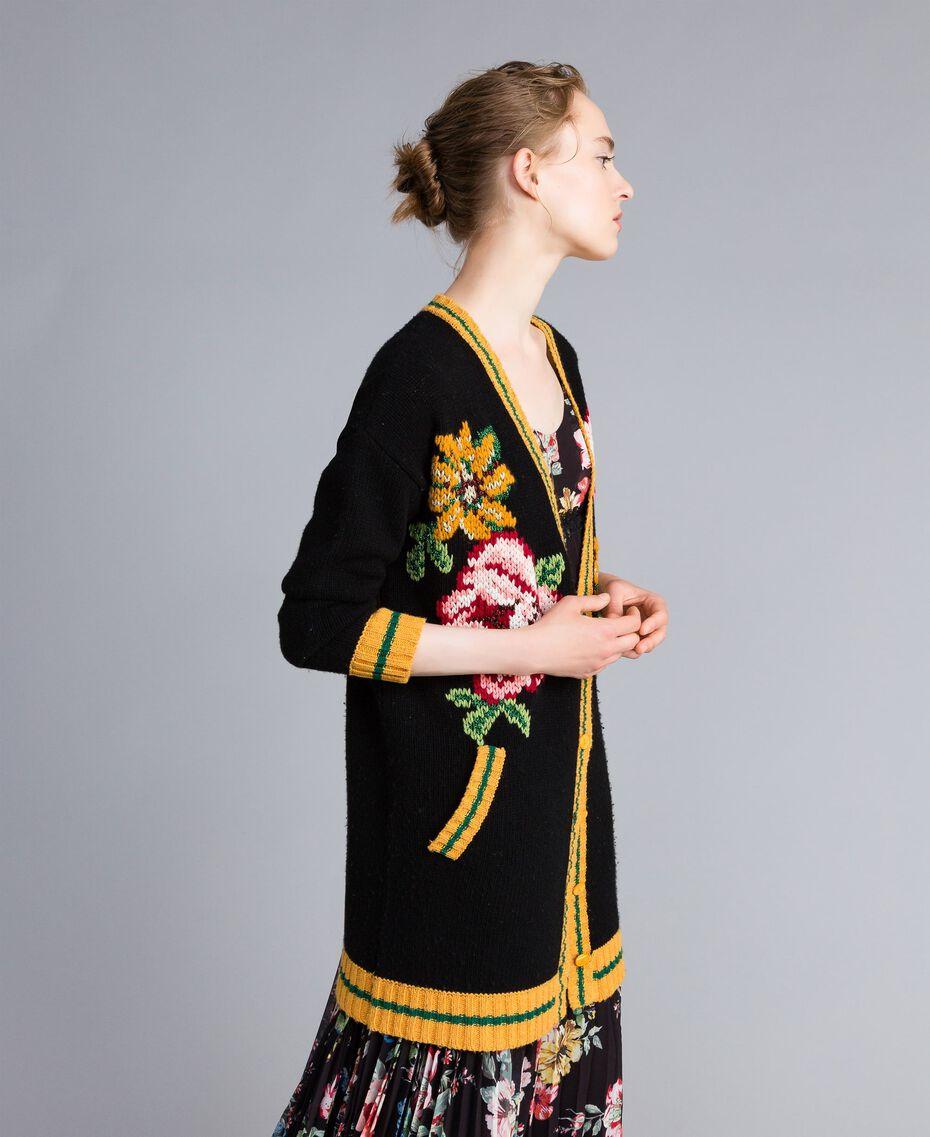 Maxi wool blend cardigan Black Woman PA83HN-02
