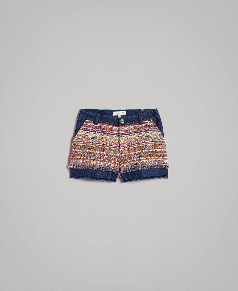 Shorts in denim con inserti Jacquard Bouclé / Denim Scuro Bambina 191GJ2021-01