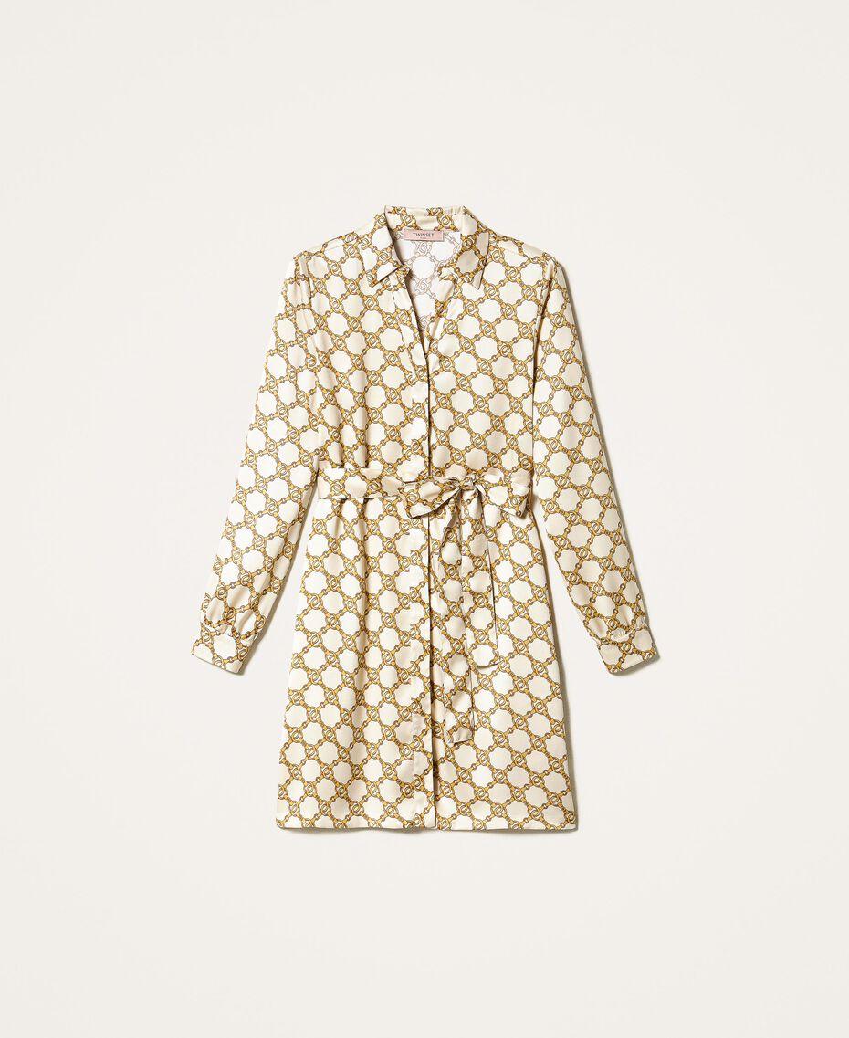 Hemdblusenkleid mit Kettenprint Kettenprint Elfenbein / Gold Frau 202TT2210-0S