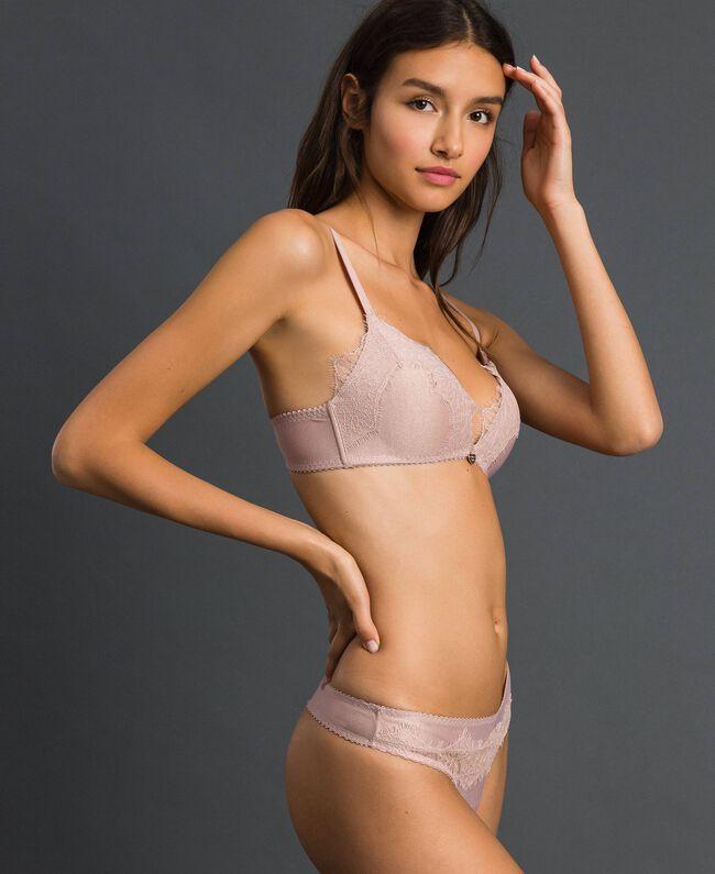 "Padded lace triangle bra Light Gold Lurex ""Peach"" Pink Woman 192LL6B22-01"