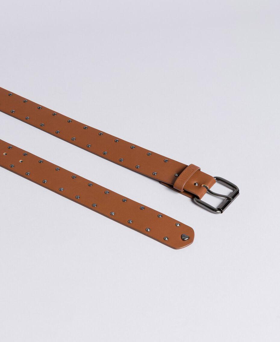 Cintura in similpelle con borchie Cuoio Donna VA8P5A-02