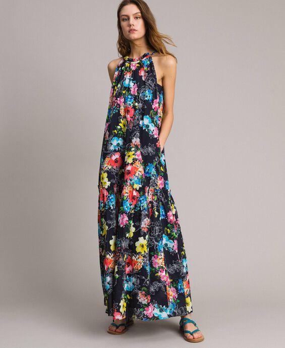 Robe longue avec imprimé floral et encolure américaine