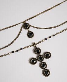 Rosenkranzhalskette mit verschiedenen Kettengliedern und Steinchen Schwarz Frau 192TA436H-02