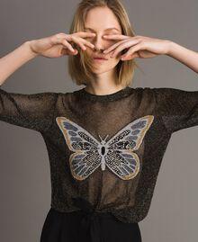 Lurex-Pullover mit Schmetterlings-Detail Lurex Schwarz Frau 191TT3101-01