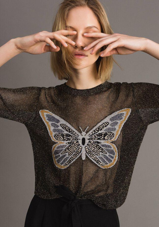 Pull en lurex avec détail papillon