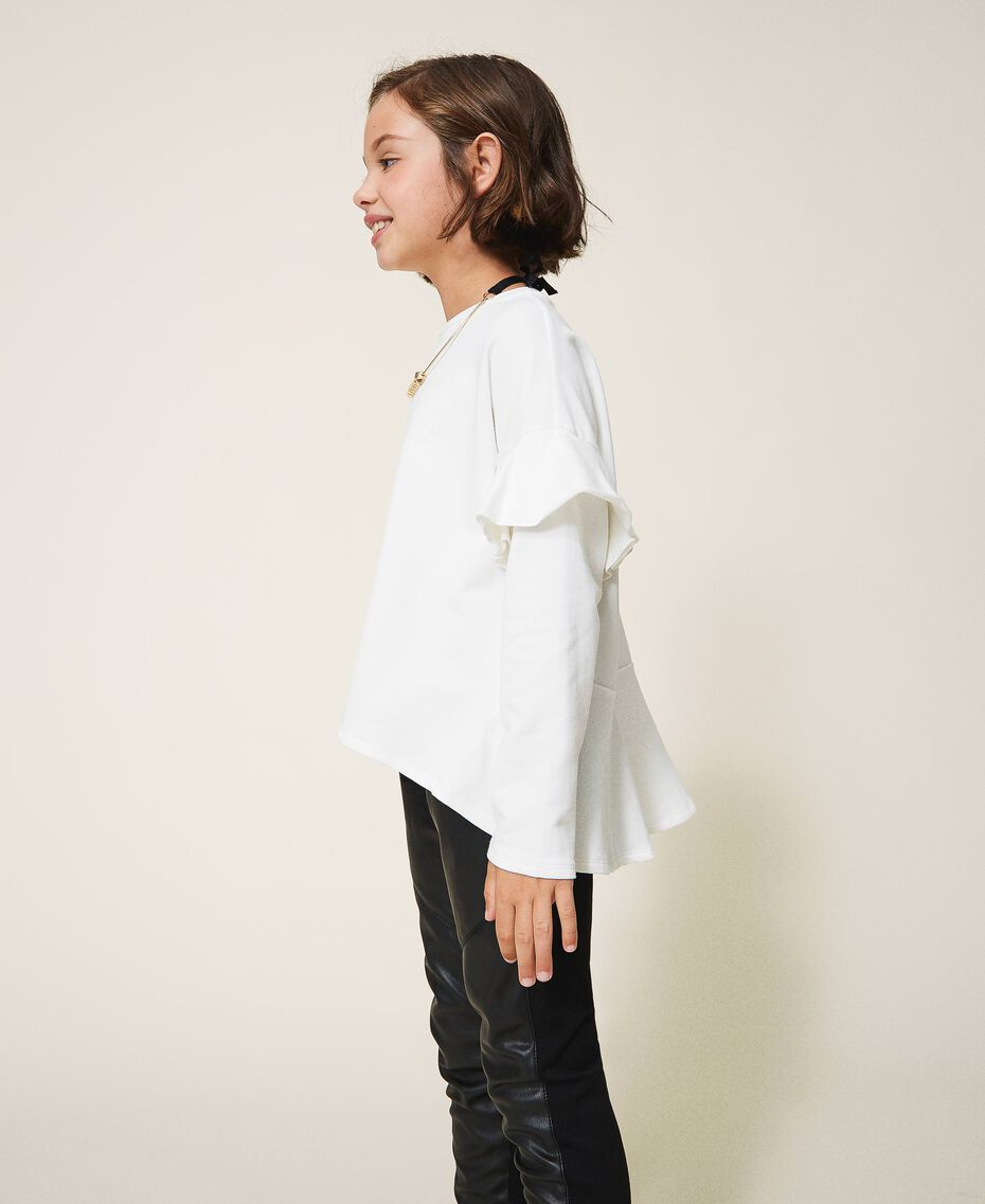 Sweatshirt with ruffle and jewel necklace Mother Of Pearl Child 202GJ2471-02