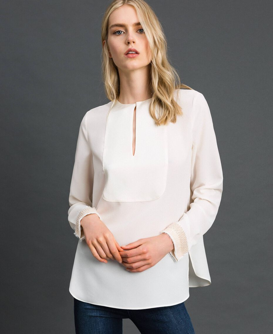 Blusa con ricami di perle Bianco Neve Donna 192TT2320-02