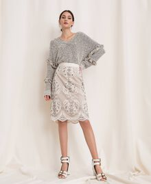 Twisted yarn jumper with lurex Multicolour Ivory / Black Woman 201TP3162-0T