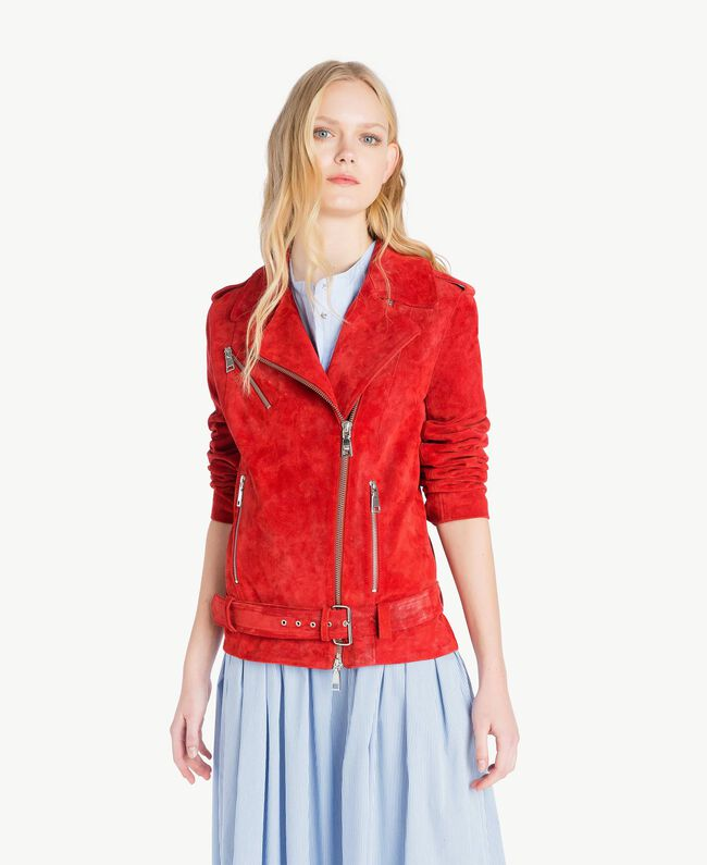 Suede biker jacket Vermilion Red Woman JS82AA-01