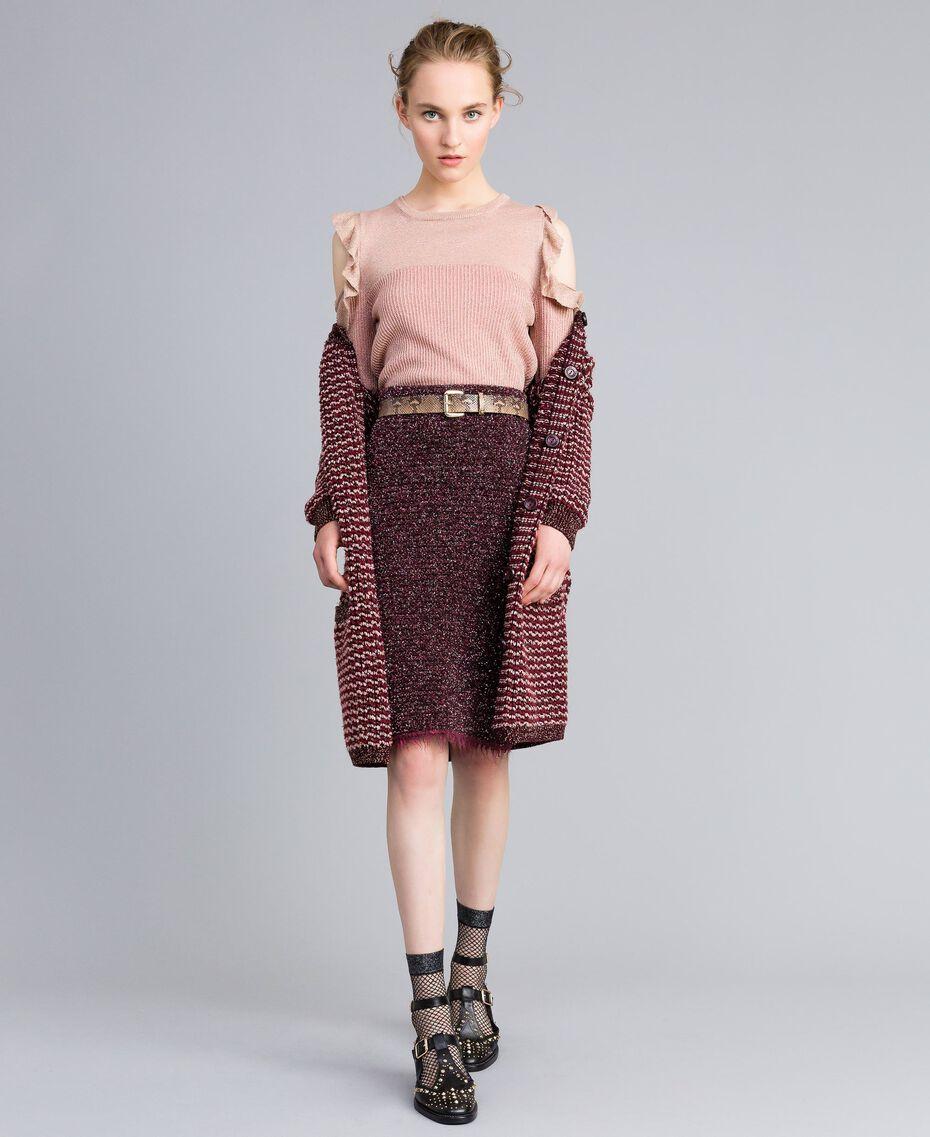 Pullover aus Lurexjacquard mit Rüschen Hellrosa / Lurex Frau PA834E-0T