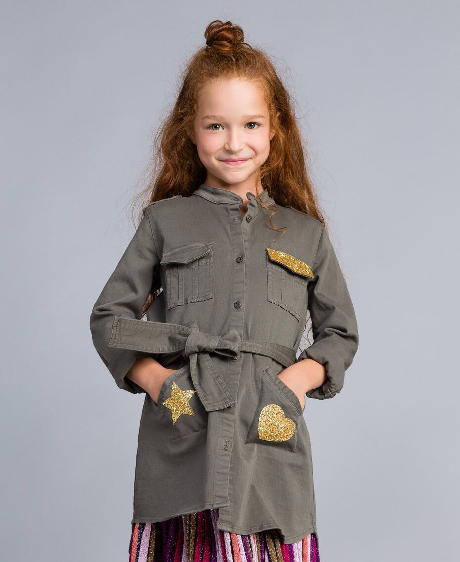 Cotton shirt dress with star Olive Child GA827R-0S
