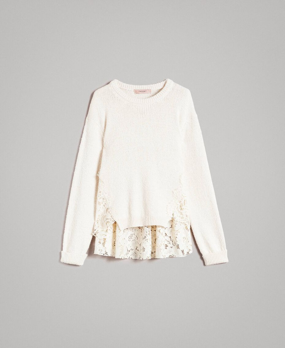 Pullover mit Spitzendetails Weiß Schnee Frau 191TP3202-0S