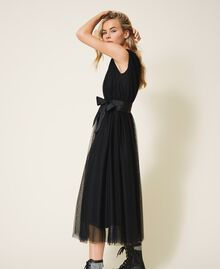 Tulle dress with satin belt Black Woman 202MP201C-03