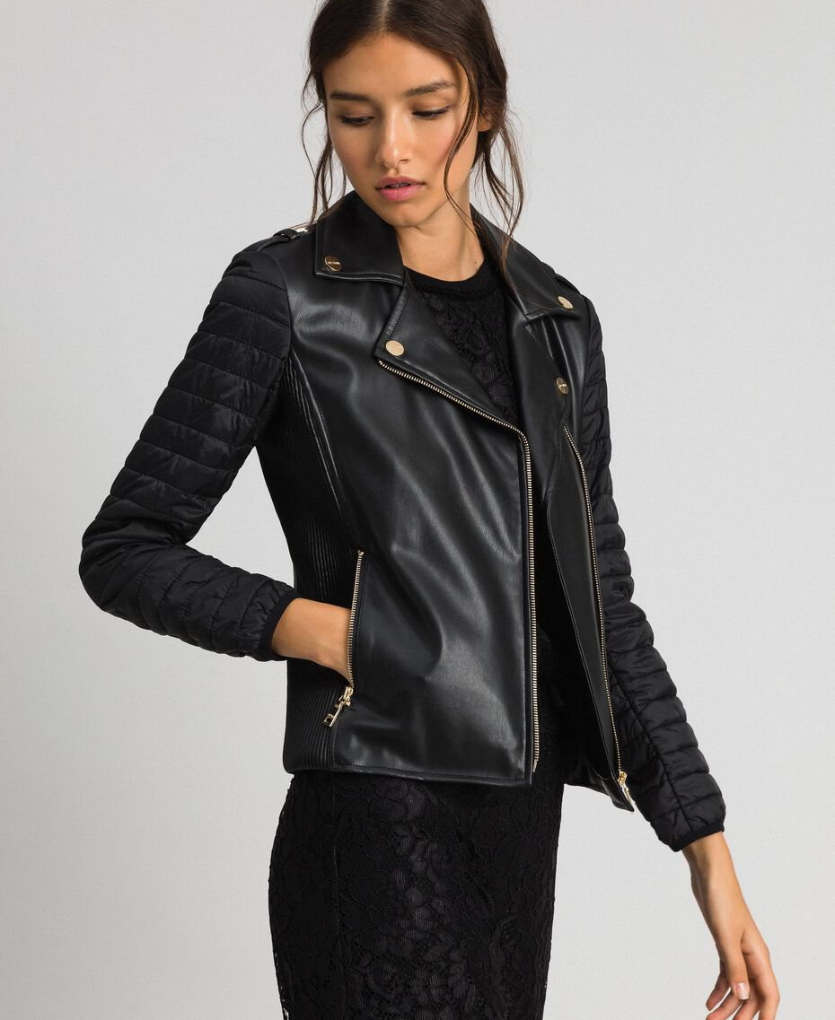 Faux leather biker jacket Black Woman 192MP2023-01
