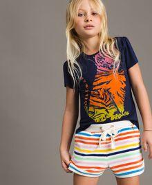 T-shirt en viscose avec imprimé et strass Indigo Enfant 191GJ2450-04